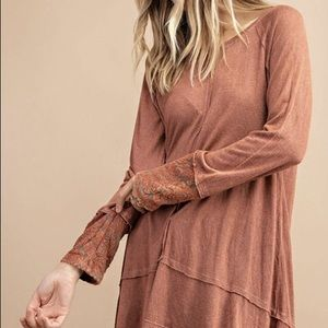 Mineral Washed Rust Long Sleeve Blouse
